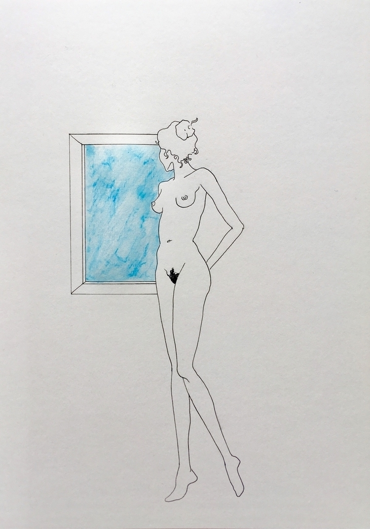 staring blue - kunst, drawing, art - lorettamae | ello