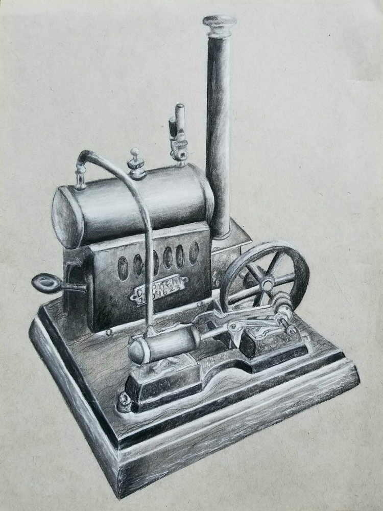 steam engine - charcoal - jmsai | ello