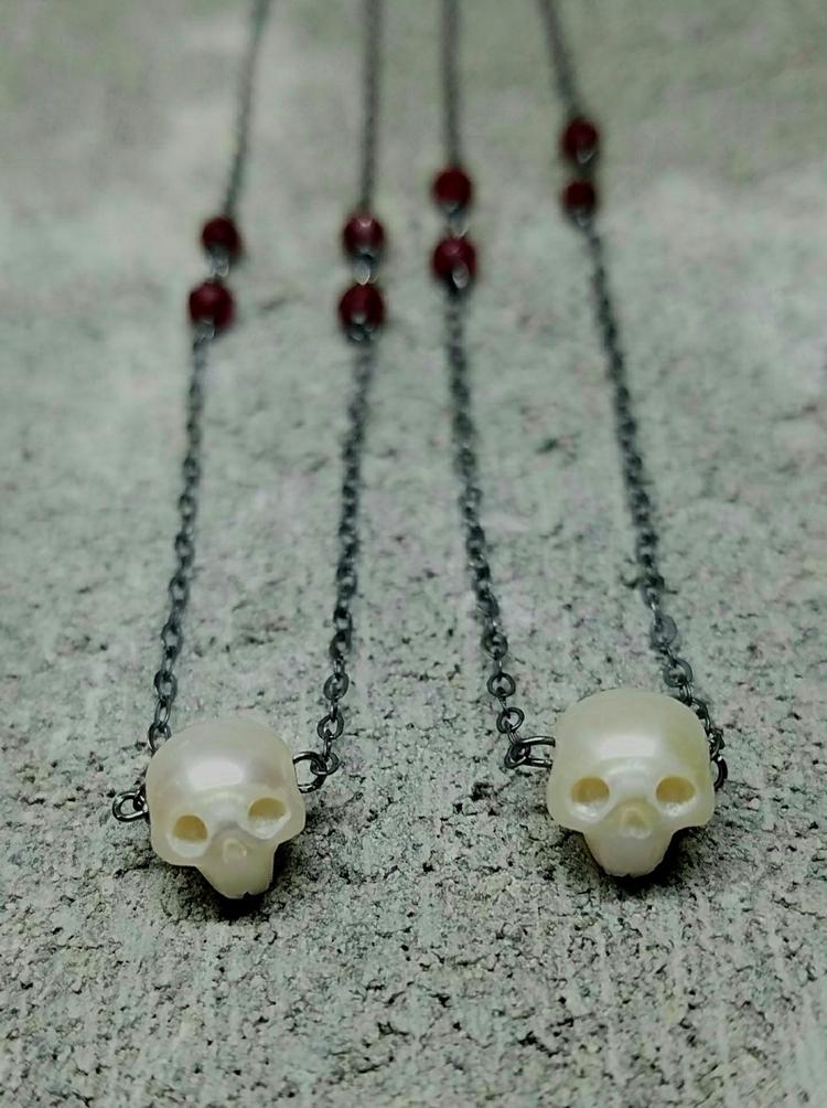 vanitas, skull, pearl, ruby, lolafae - lolafaejewelry | ello