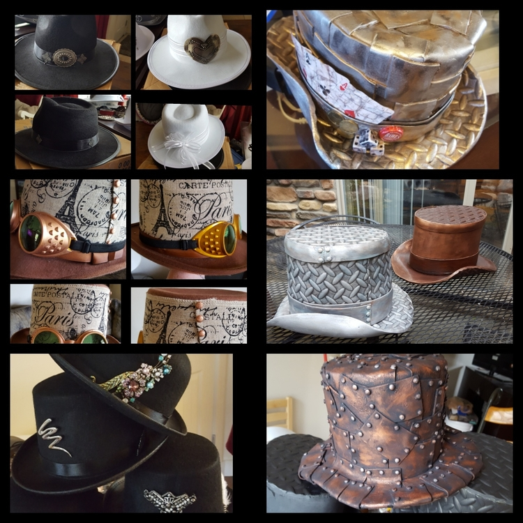 Steampunk hats, felt decorated - laughingdogdesignunlmd | ello