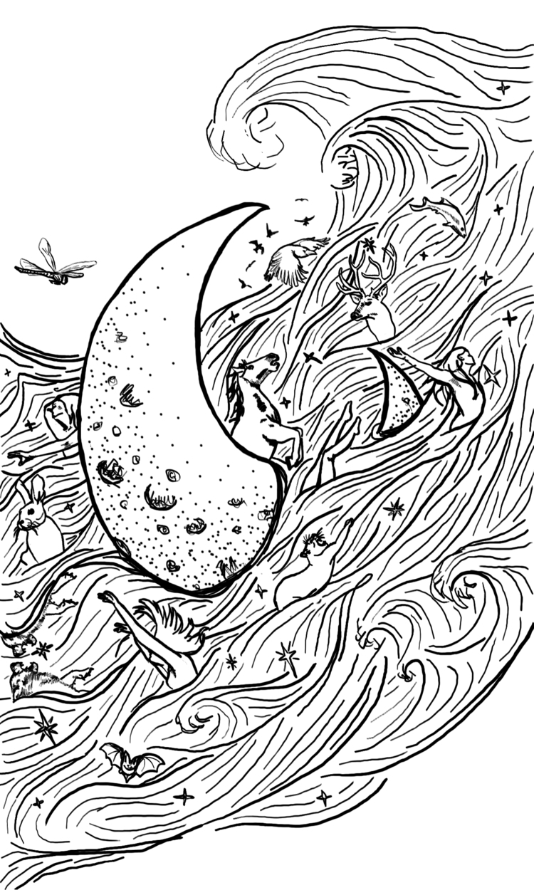 Work Progress: Blind Moon card - inklining | ello