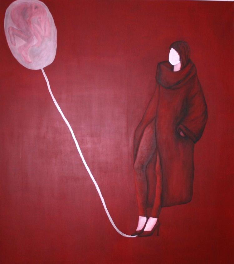 Red Women Acrylic canvas 150x17 - pauladered   ello