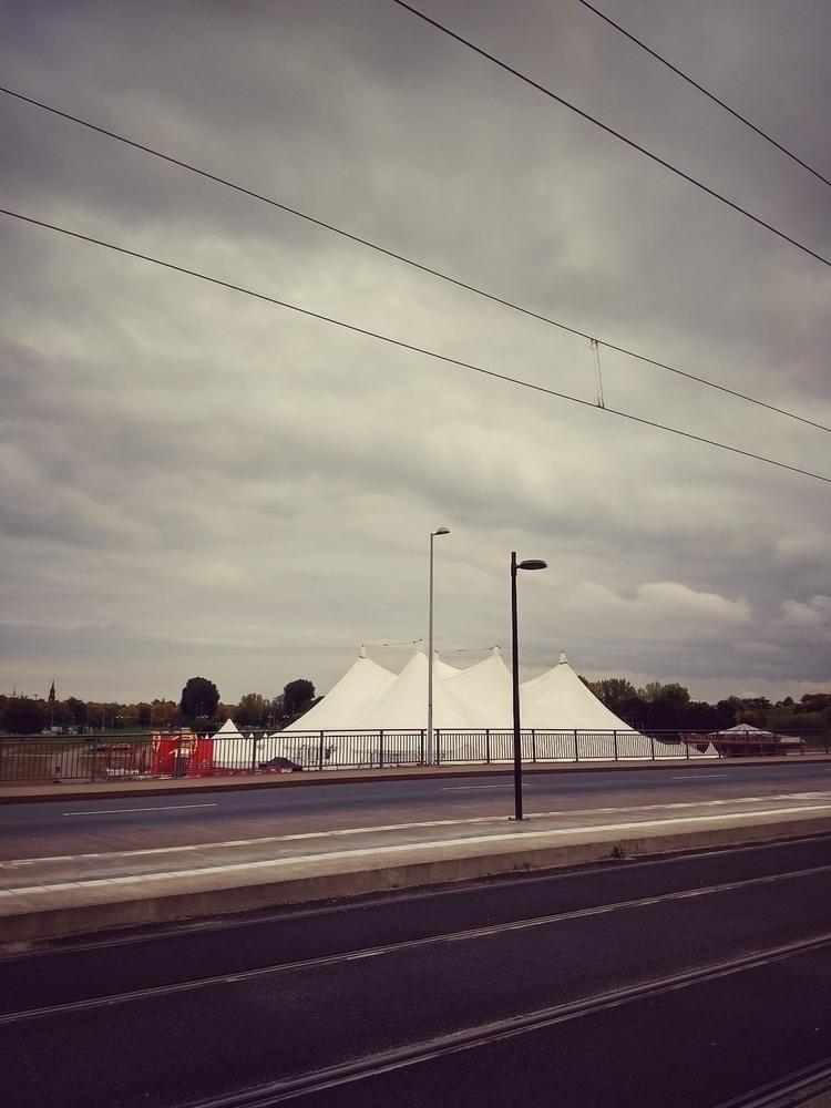 waiting, tram, sky, clouds, circus - claudio_g_c   ello