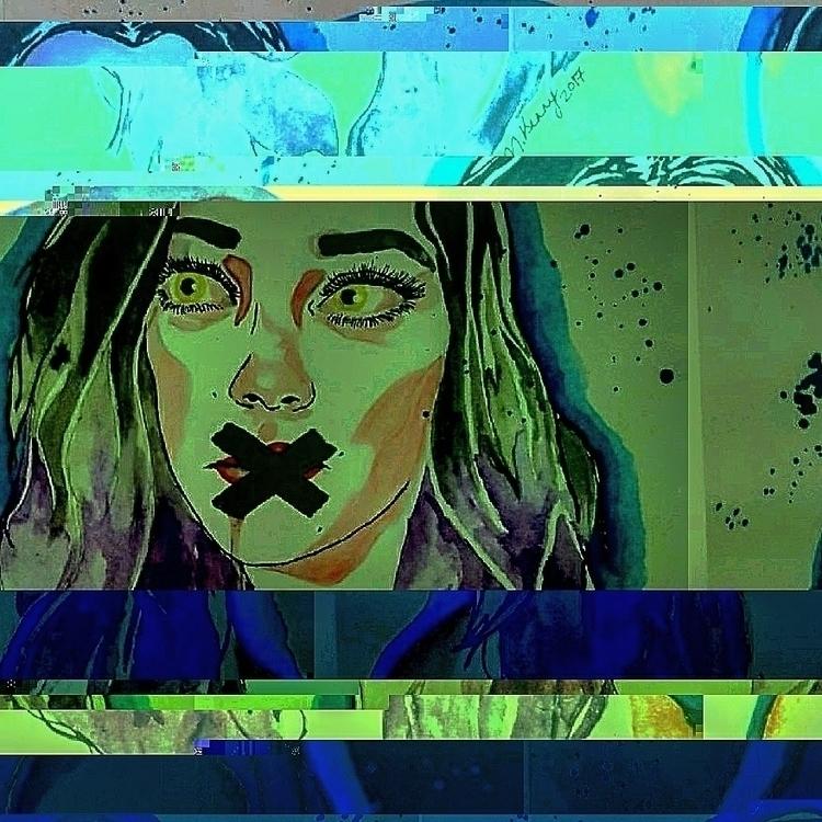 glitched lovely drawings!  - glitchart - brainhurt | ello