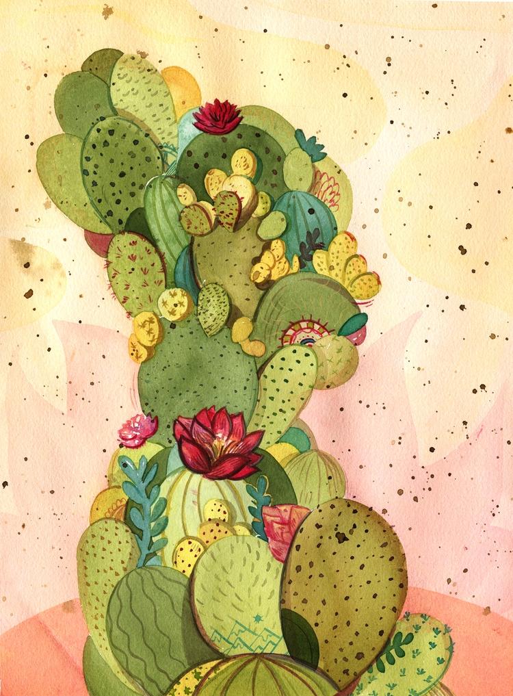 CactiLand, 11 15, acrylic Ink - cactus - vivianshih | ello