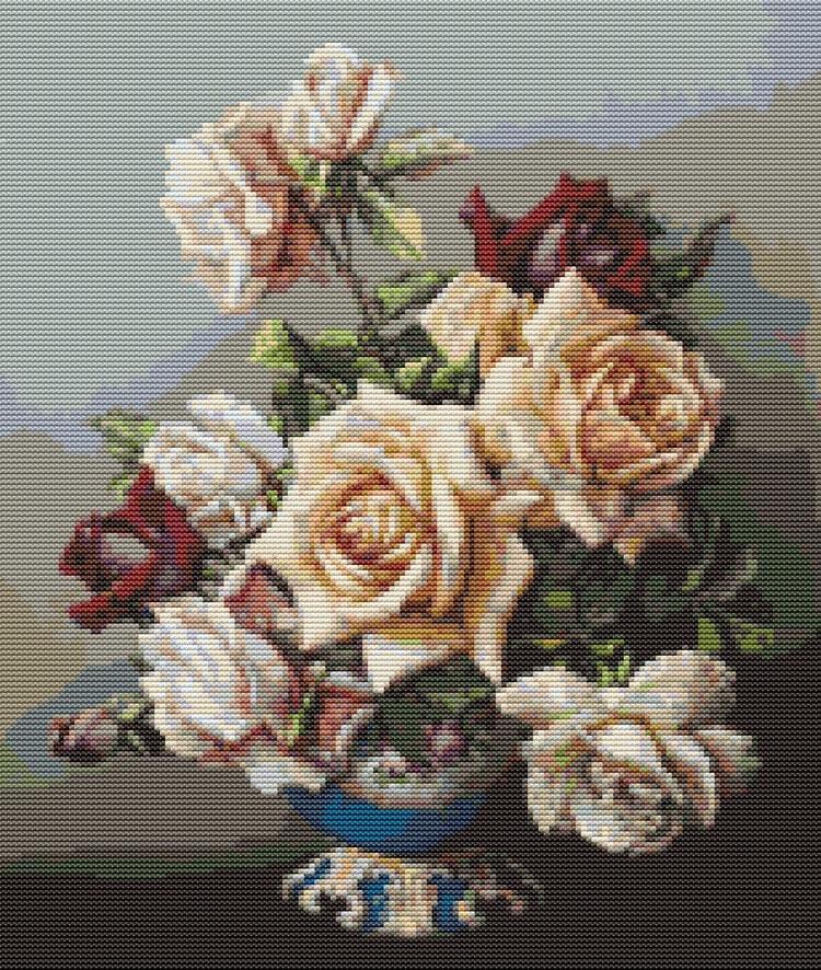 Vase Roses, Irene Klestova Cros - theartofstitch | ello