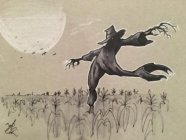 Inktober Day 2: Scarecrow - halloween - justincline | ello