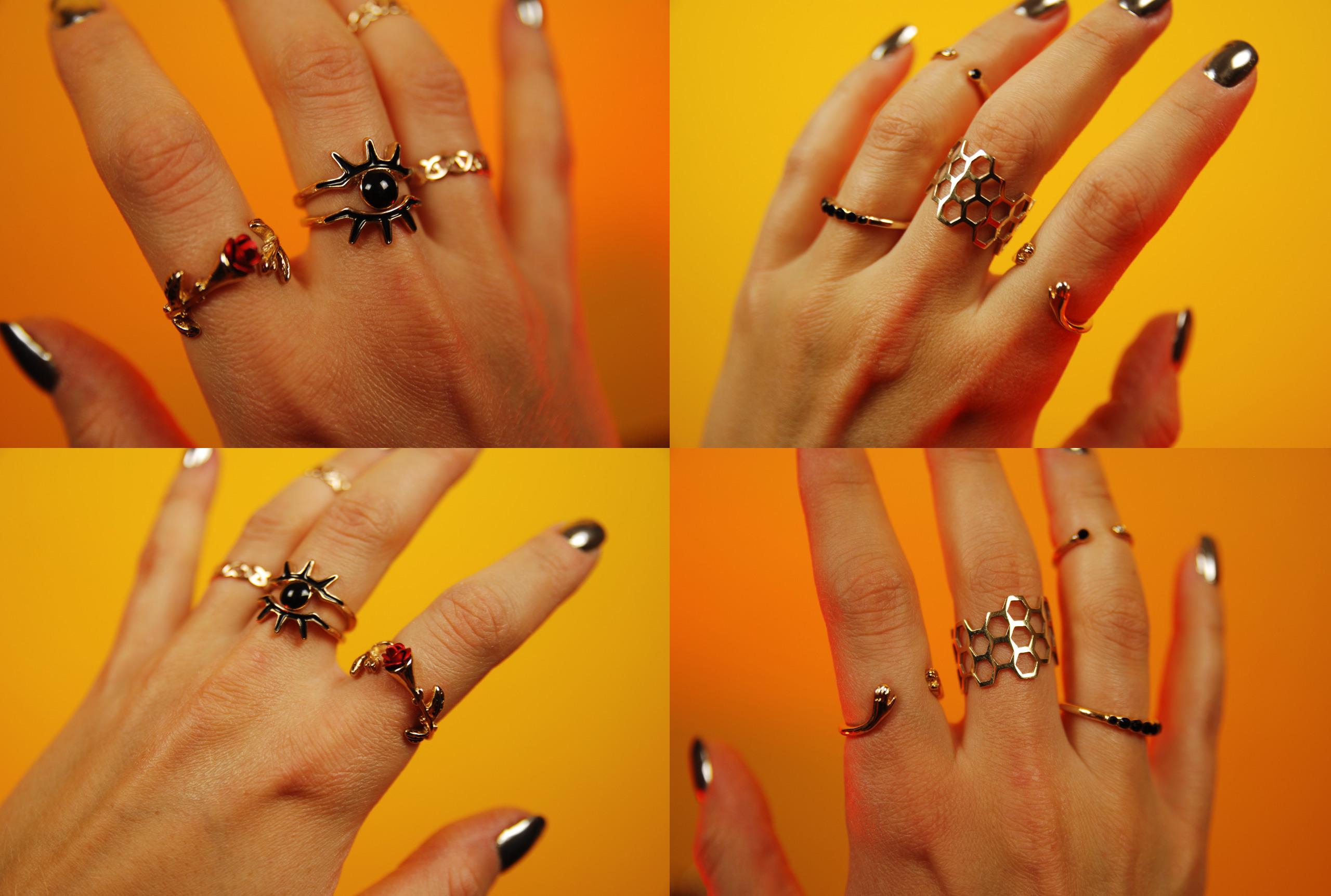 Zdjęcie podzielone jest na cztery części i przedstawia dłonie ze złotymi pierścionkami i srebrnymi paznokciami, całość na żółtym tle.
