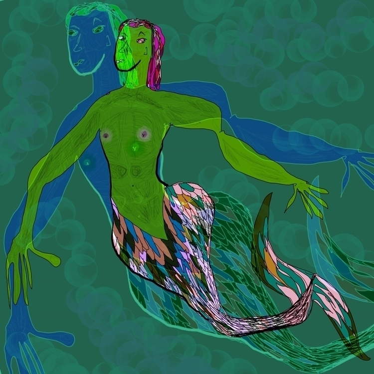 """Pink green merman  - graphicdesign - mwernerphoto 