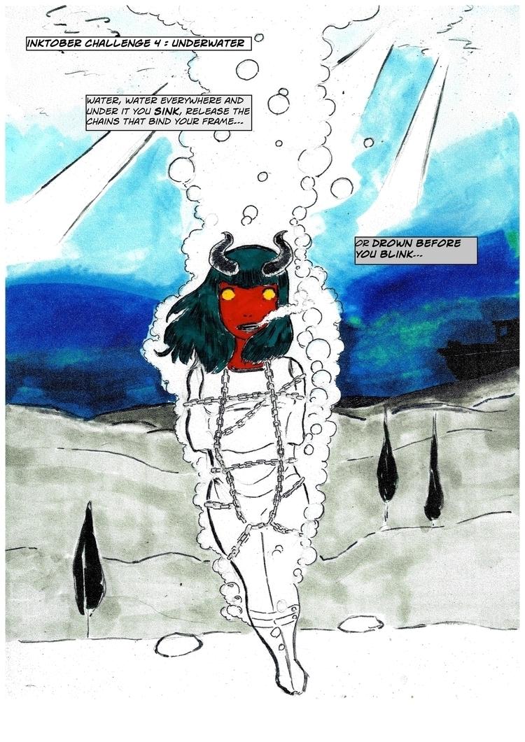 Inktober Day 4 underwater - escapology - adicarter | ello