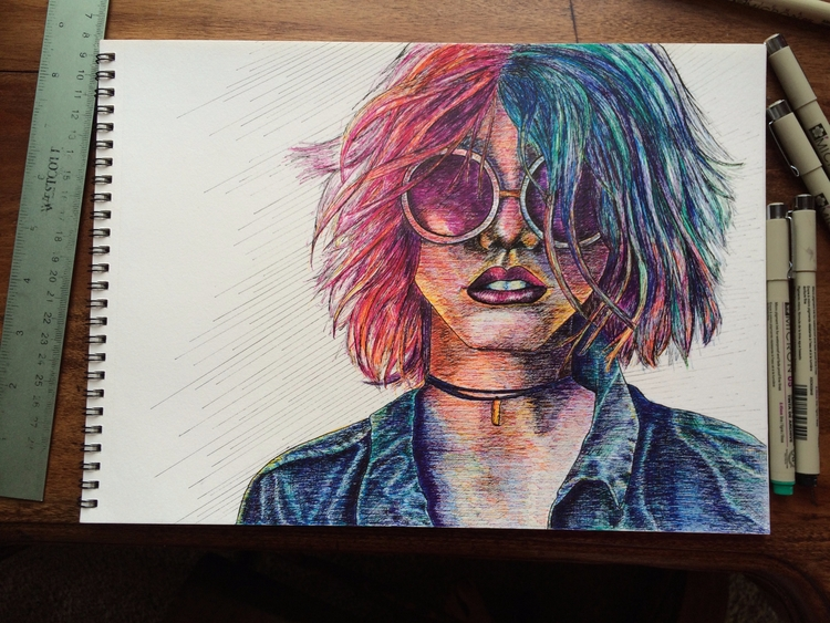 drawing, art, portrait, pen, ink - betsykevans | ello