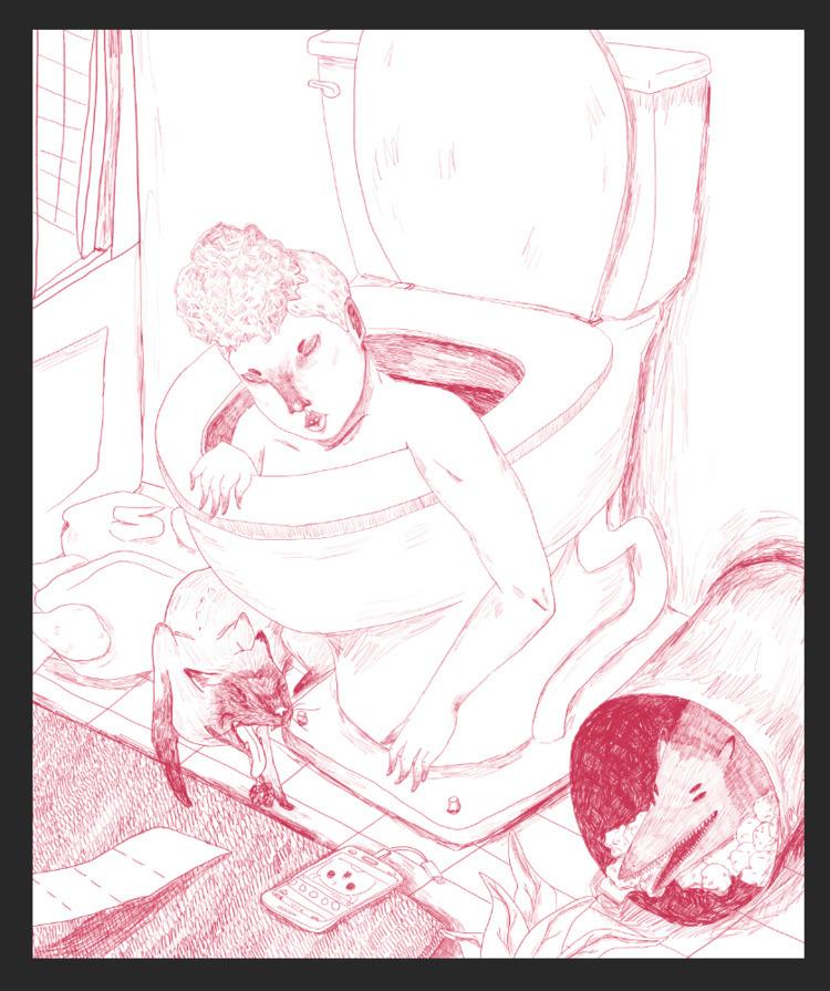 cellphone bathroom - art, illustration - missjaws | ello