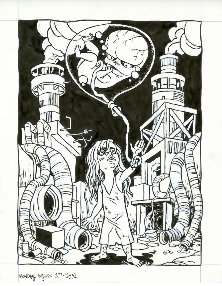 Fetal Balloon Girl, 8/17/92 - illo - dannyhellman | ello