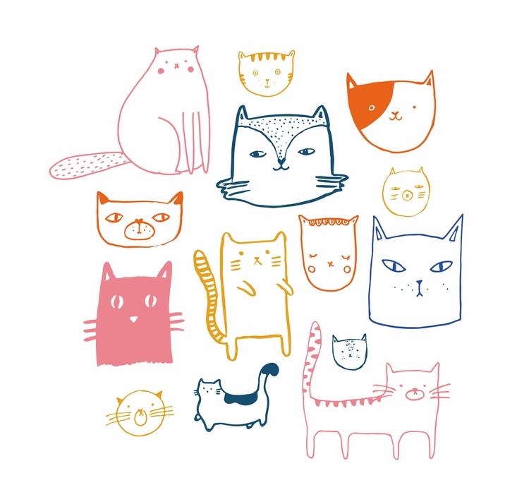 Cats - illustration, drawing, artwork - pirichi | ello