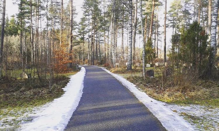 1 av få asfalterade vägar på Sk - skogskyrkogardar | ello