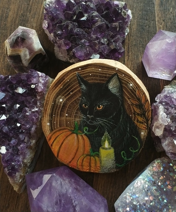 Black cat pumpkins painted recy - magicwood_creations | ello