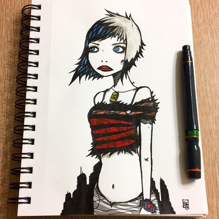 morning ink - illustration, postpunk - aaronkraten | ello
