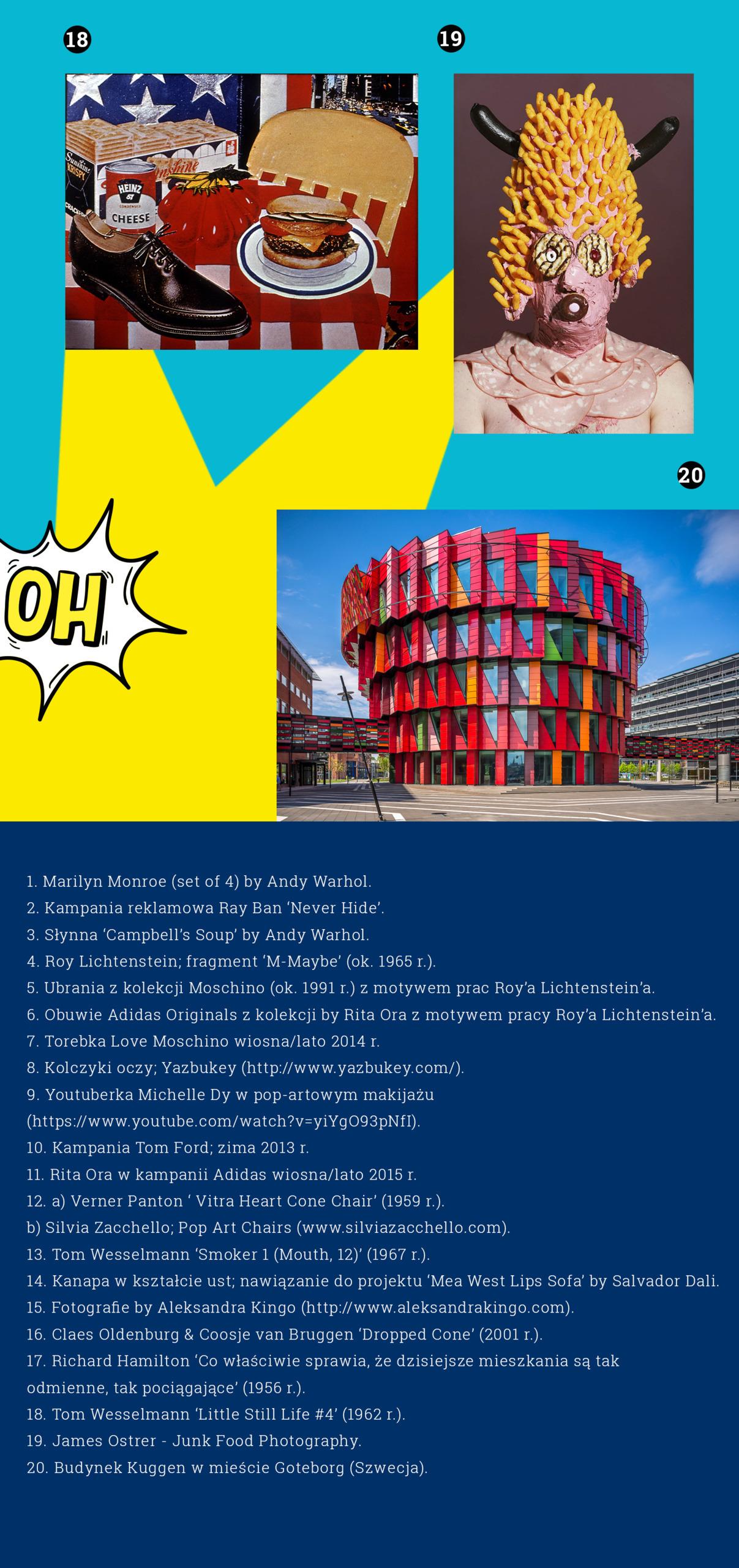 Obraz przedstawia różne zdjęcia na niebieskim tle w otoczeniu żółtych elementów, widzimy kolaż znanego artysty, fotografię przedstawiającą postać oblepioną produktami spożywczymi, zdjęcie kolorowego budynku, na samym dole znajdują się białe napisy na niebieskim tle.
