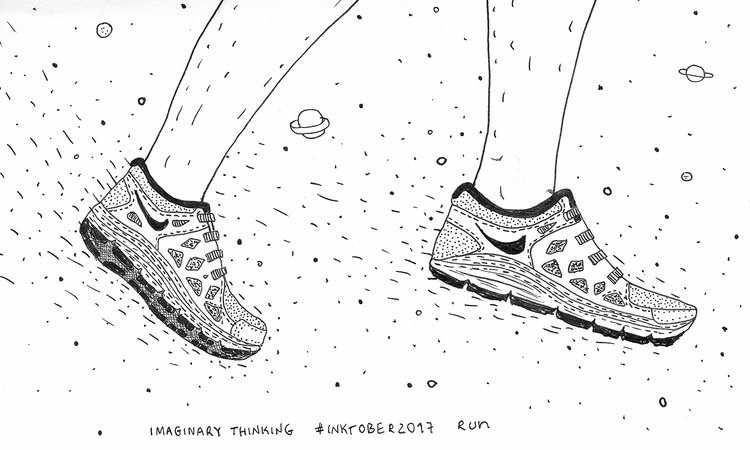 Daily drawing - run, 531, inktober2017 - imaginarythinking | ello