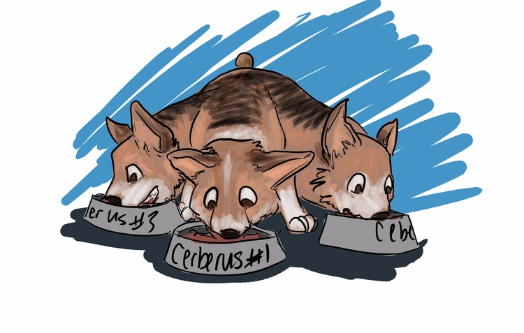 Quick sketch corgi cerberus  - emileewalshart | ello