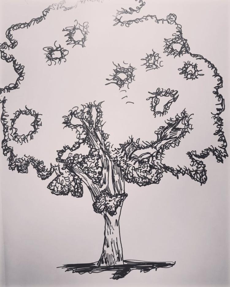 October 5 tree sketched sat car - jdiannedotson | ello