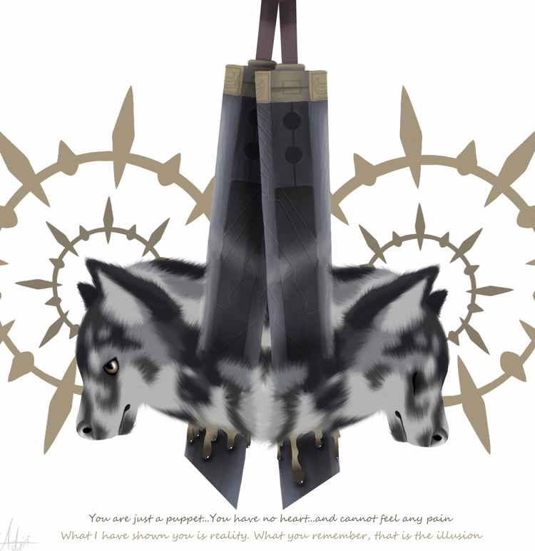 wolf + ffvii weapon quote art t - aiden_sonebi | ello