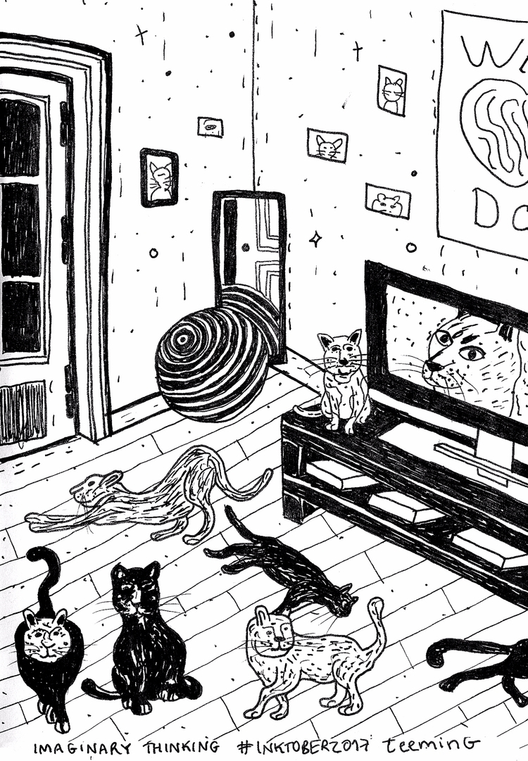 room cats Daily drawing - teeming - imaginarythinking | ello