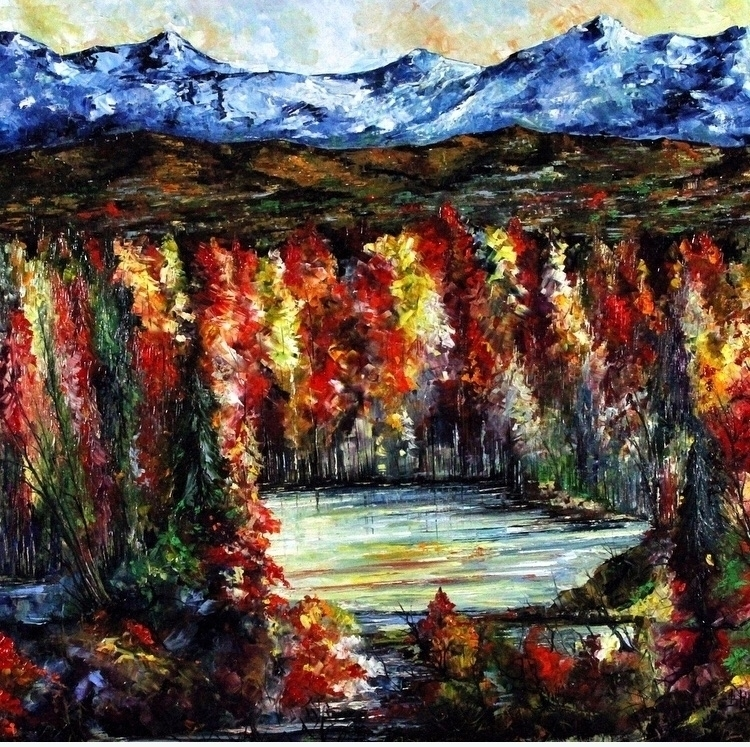 Lago Autunno Bruno Oil Canvas 4 - bitfactory | ello