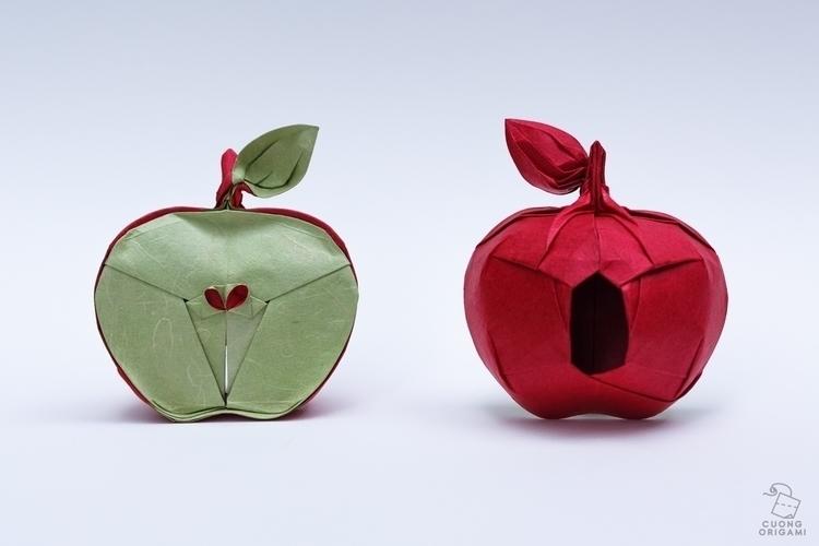 Origami Apple Folded uncut squa - cuongorigami | ello