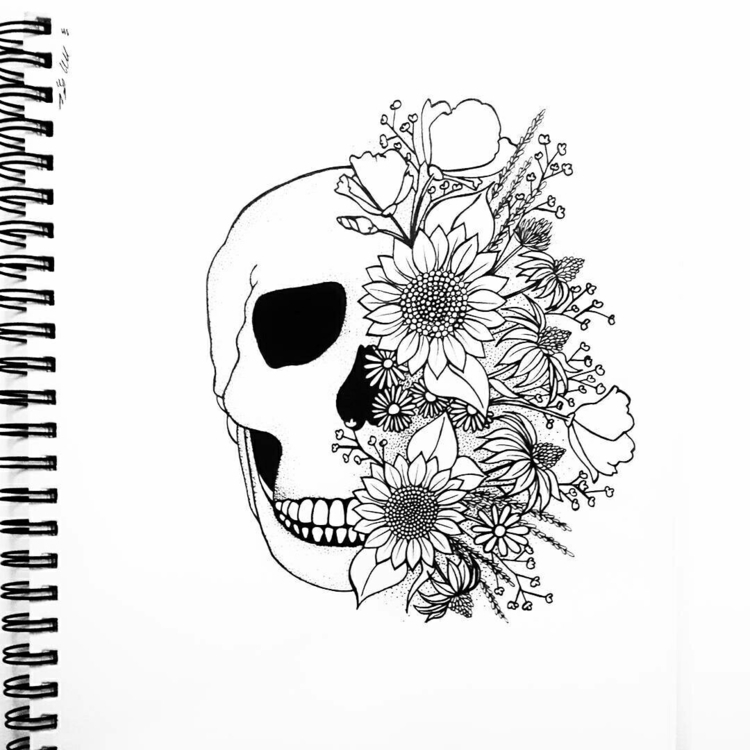 inktober, illustration, skull - moonflux_studio | ello