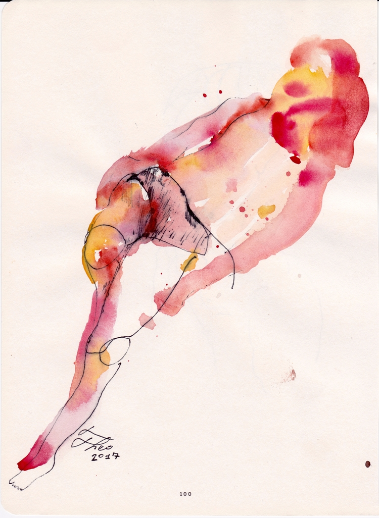 Figure Studying Watercolor ink  - theothefifth | ello