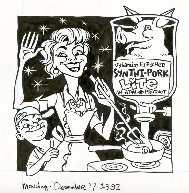 Synthi-Pork cover illo NYPress - dannyhellman | ello