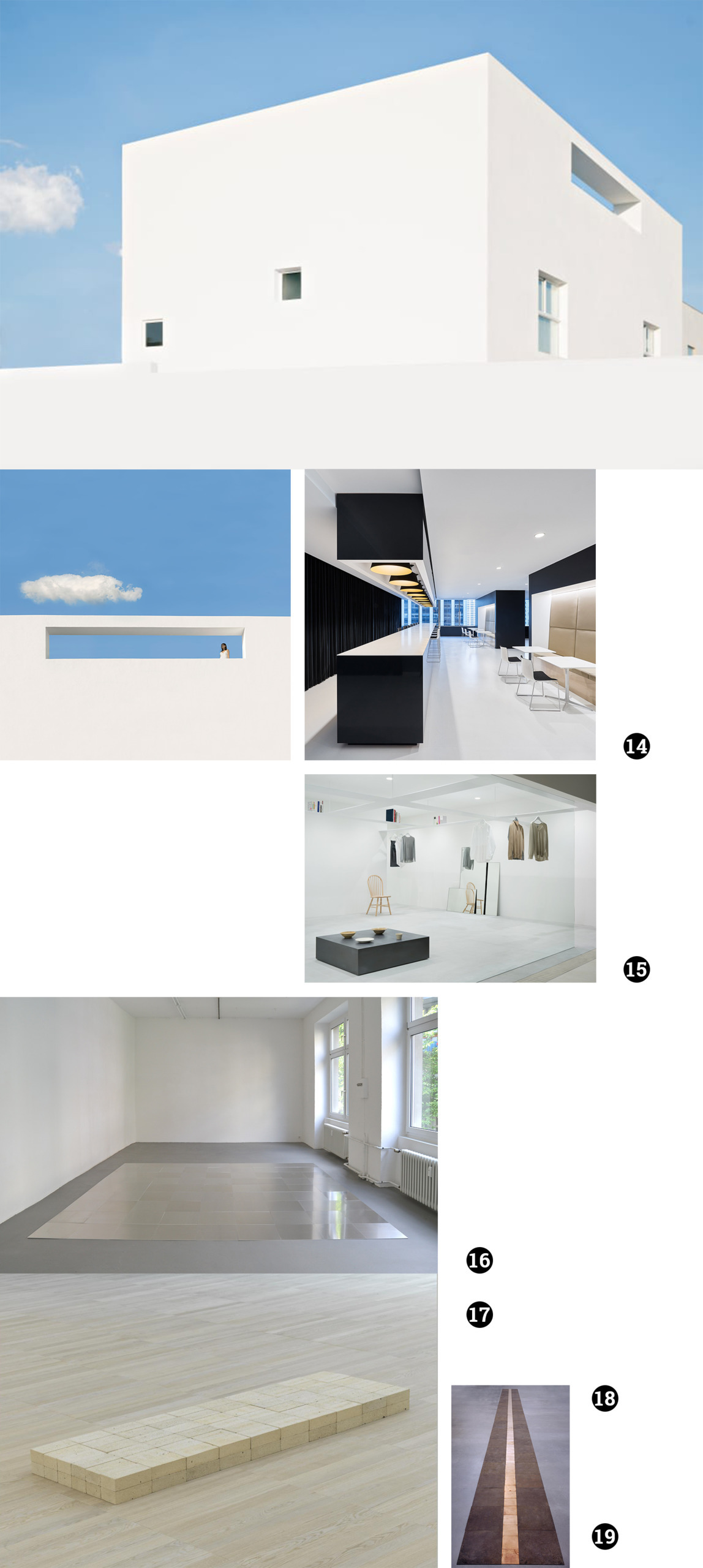 Obraz przedstawia różne zdjęcia na białym tle. Widzimy fotografię białego budynku na tle nieba, wnętrza różnych pomieszczeń.