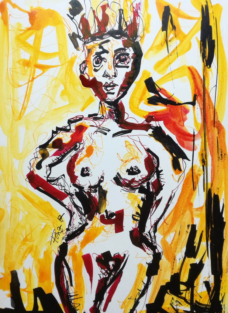 Fiery lady Indian ink paper 21x - artfeeva | ello