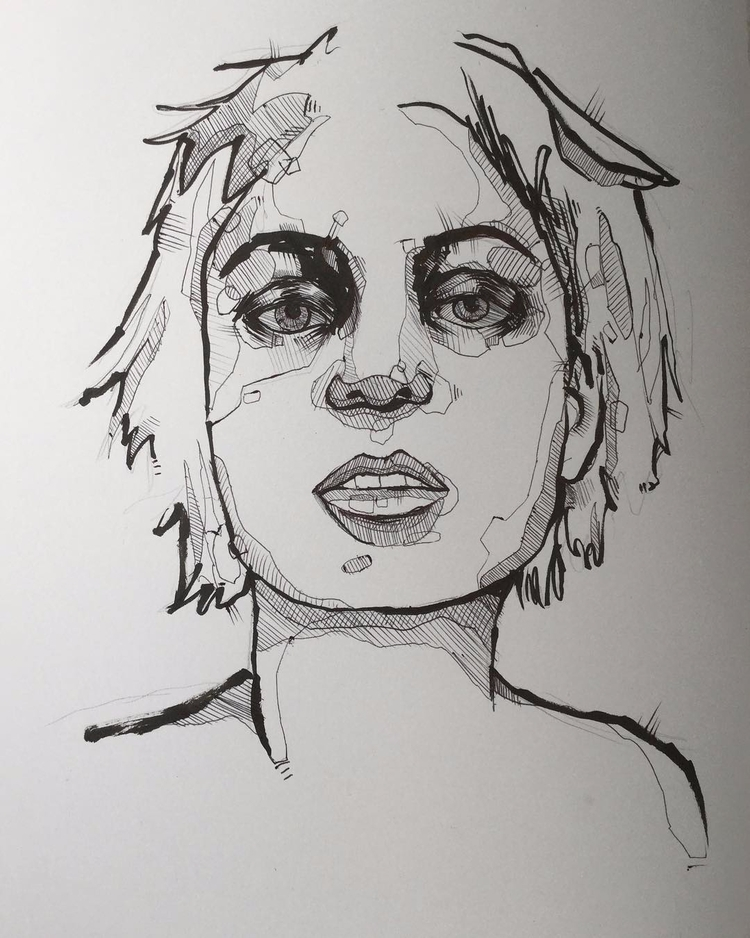 minimalistic pen ink portrait c - jordansummers | ello