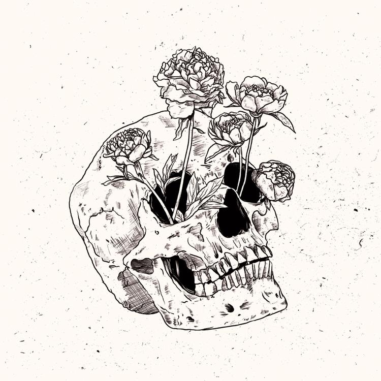 skull, flowers, illustration - studiok91 | ello
