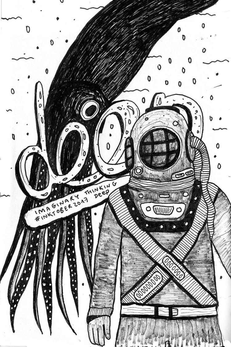sea Daily drawing - deep, 540, inktober - imaginarythinking | ello