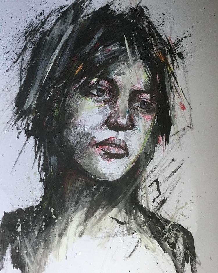 older artwork biro, acrylic oil - jordansummers | ello