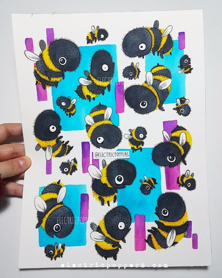 BEES, 2017. Watercolors 300g A4 - electricpoppers | ello
