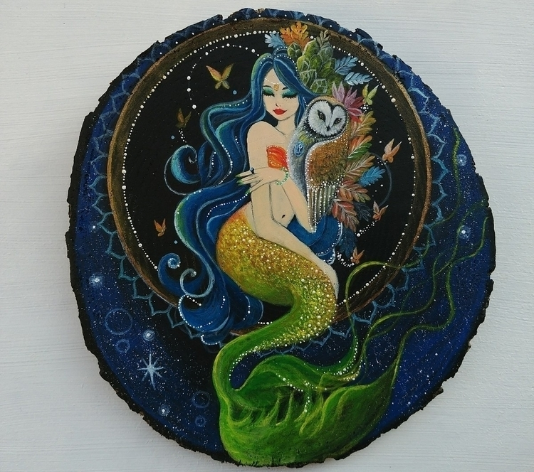 Magic Mermaid Owl - paintingonwood - magicwood_creations | ello