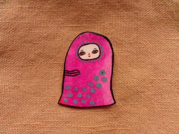 Pink Alien Creature Pin - painted - thefluffandpurr | ello