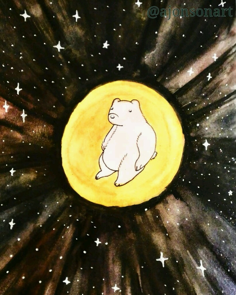 """moonbear  - moon, bear, stars, sky - ajonsonart | ello"