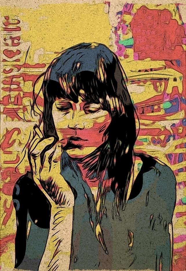 art, illustration, smokinggirl - mark-andresen   ello