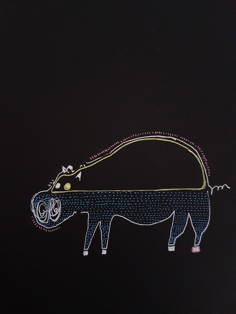 hippo. Ink black paper - iasonvenz | ello
