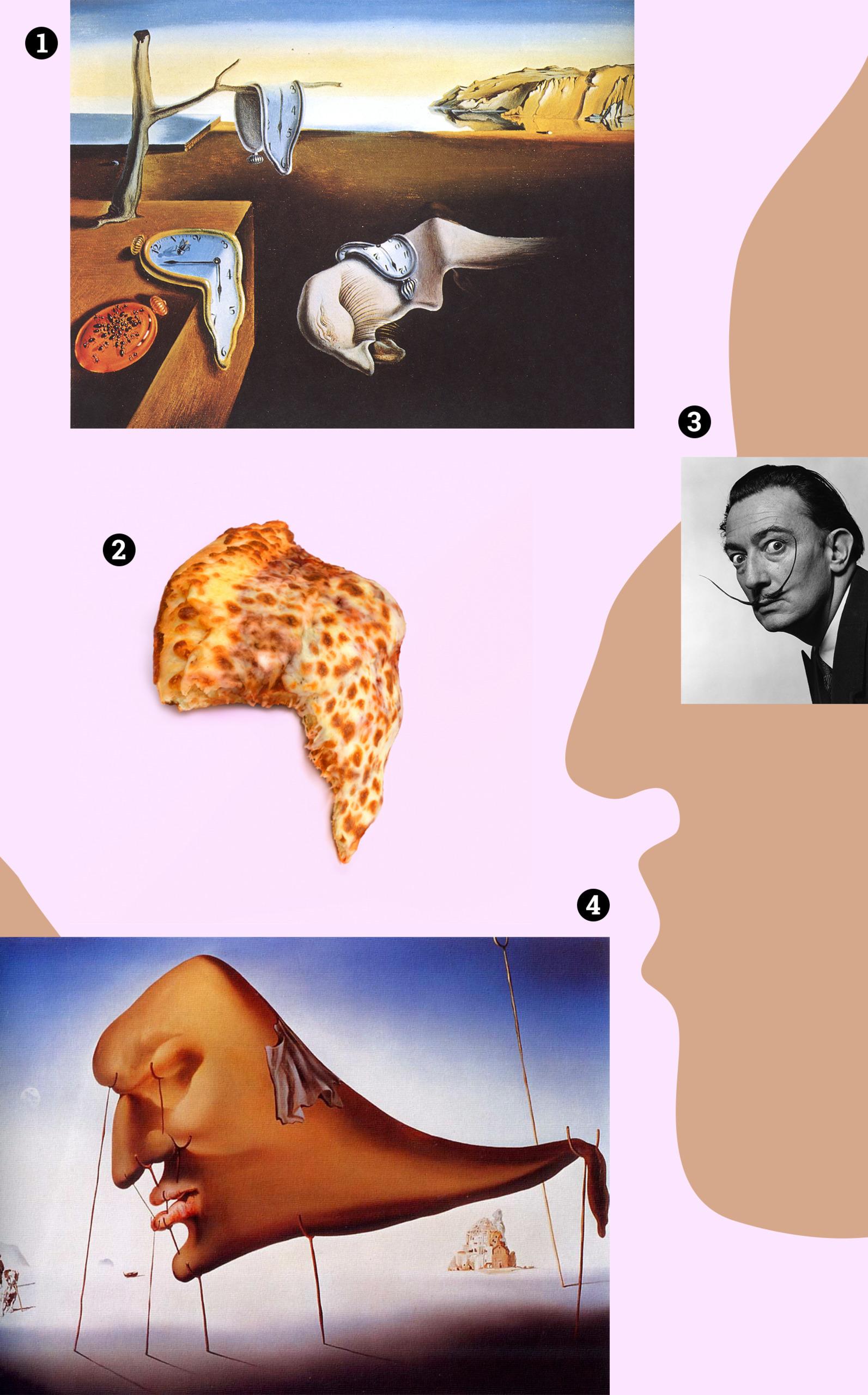 Obraz przedstawia różne elementy i zdjęcia na blado-różowym tle. Widzimy kawałek pizzy, fotografię portretową i zdjęcia obrazów.