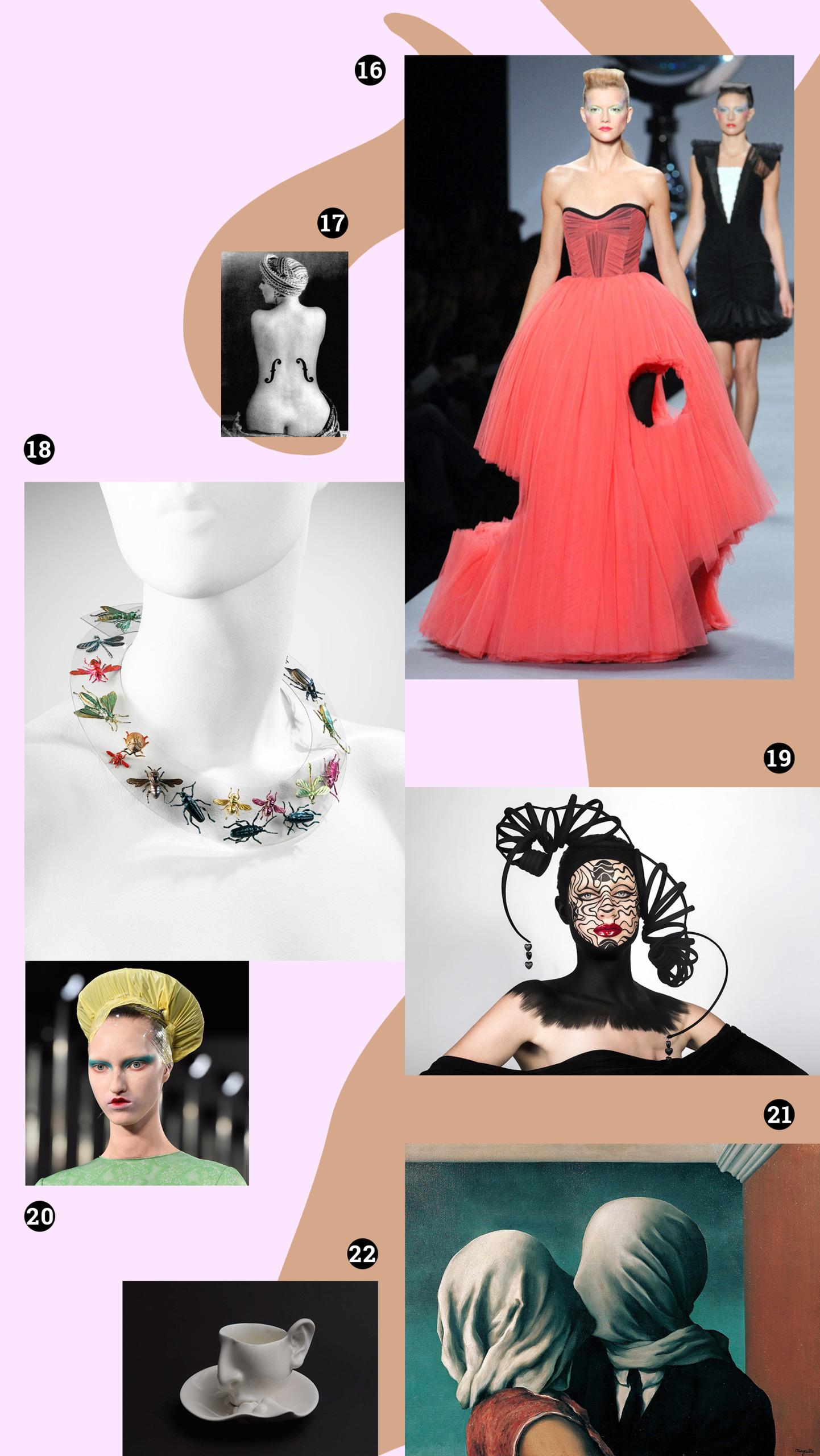 Obraz przedstawia różne zdjęcia na blado-różowym tle. Widzimy kobietę w czerwonej sukni, naszyjnik na białym manekinie, obraz, filiżankę.