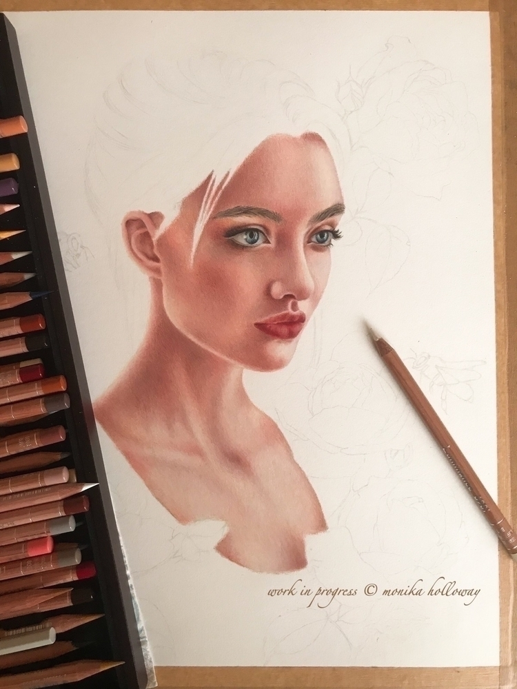 progress coloured pencil piece - monikaholloway | ello
