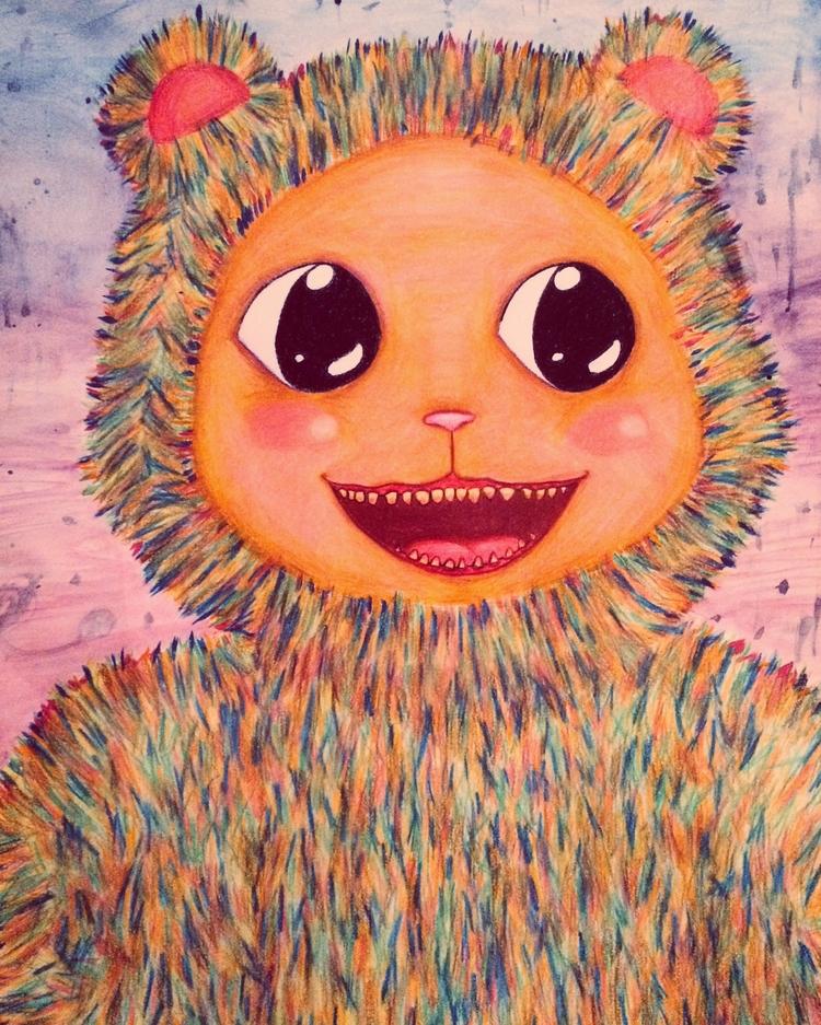 Rainbow teddy - illustration, trippy - airative | ello