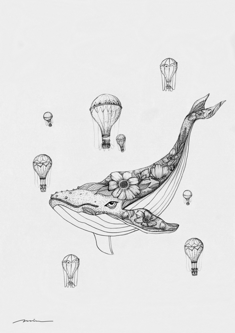 Whale balloons. Pencil drawing  - gowin | ello