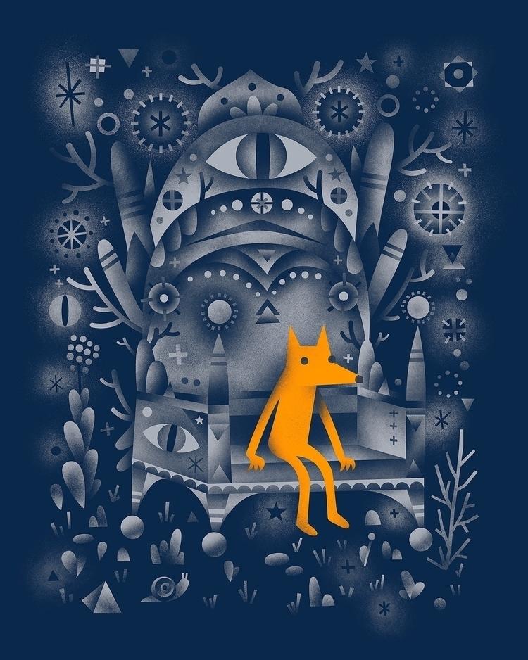 golden wolf sitting mystic wood - arenvandenburgh | ello